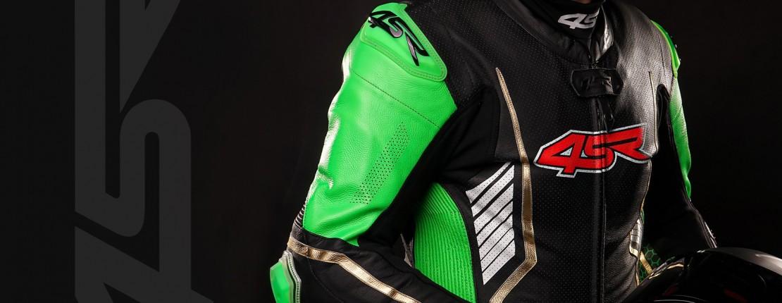 4SR Motorradbekleidung - Lederkombi Racing Monster Green AR Airbag Ready