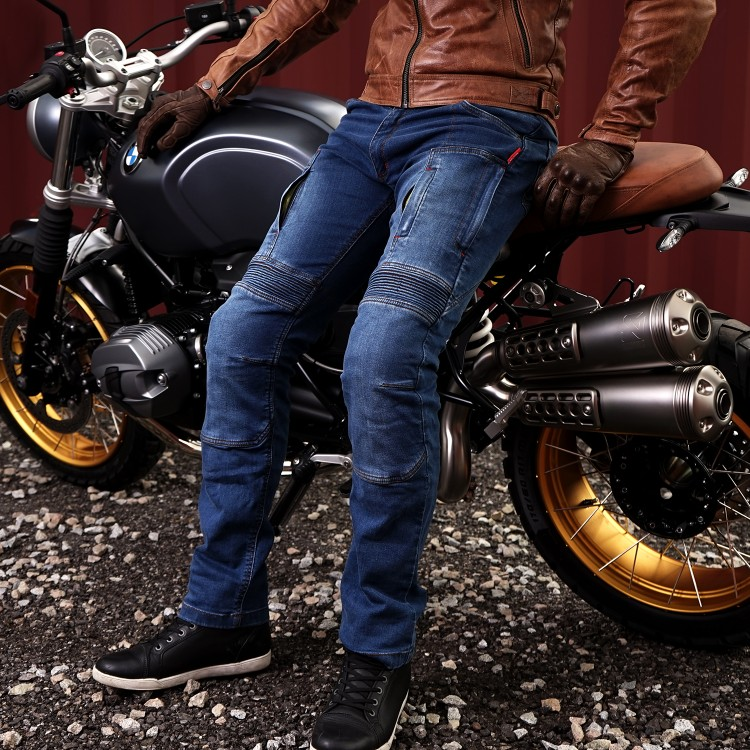 4SR Motorradbekleidung - Lange Motorrad Kevlarjeans Club Sport mit Belüftung