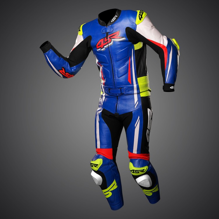 4SR Motorradbekleidung - Motorrad Lederkombi RR Evo III Cobalt Blue 2-Teiler
