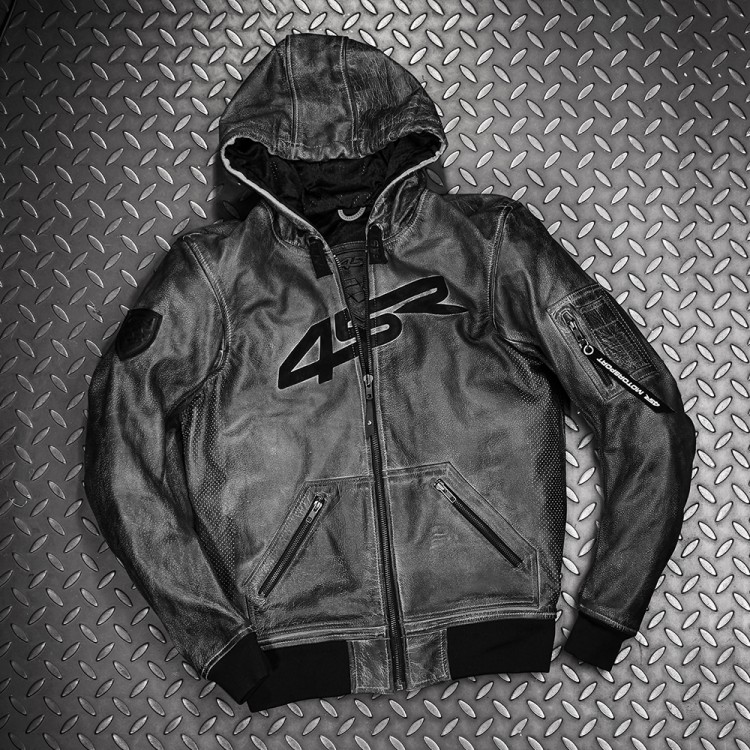 4SR Motorradbekleidung - Motorrad Lederjacke Hoodie Jacket mit Kapuze